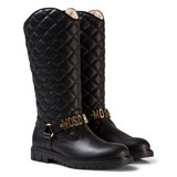Moschino Black Leather Quilted Tall Boots