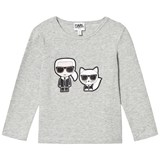 Karl Lagerfeld Kids Grey Karl and Choupette Tee
