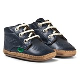 Kickers Navy Leather Patent Pre Walker Boots