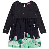Joules Navy Countryside Scene Print Jersey and Woven Dress