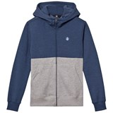 Volcom Blue and Grey Small Logo Zip Through Hoodie