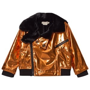 ANDORINE | Andorine Bronze Metallic And Faux Fur Biker Jacket 8 Years | Goxip