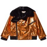 Andorine Bronze Metallic and Faux Fur Biker Jacket