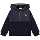 Paul Smith Junior Navy Half Zip Front Hoody with Multi Stripe Hood Detail