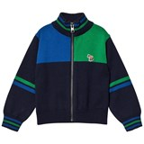 Paul Smith Junior Navy Colour Block Knit Zip Thru Cardigan