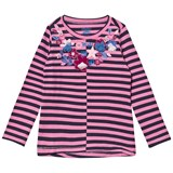 Hatley Pink and Navy Floral Applique Stripe Long Sleeve Tee
