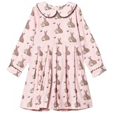 Rachel Riley Pink Bunny Print Dress with Peter Pan Collar