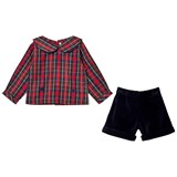 Rachel Riley Tartan Shirt and Navy Shorts