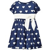 Rachel Riley Blue and Cream Heart Print Puff Sleeve Dress