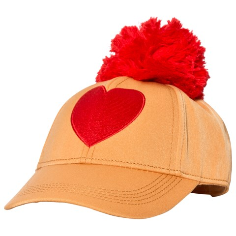 Mini Rodini Orange Heart Embroidery Cap