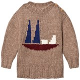 Bobo Choses Brown Alma Sailboat Intarsia Jumper