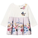 Monnalisa White Floral Neoprene and Applique Dress