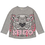 Kenzo Kids Grey Marl Large Tiger Print Tee