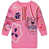 Kenzo Kids Pink Knit Multi Tiger Motif Dress