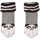 The Bonnie Mob Baby Bootie Panda Socks With Pom Pom Tail Grey