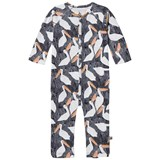Noe & Zoe Berlin Black Stork Printed Footless Babygrow