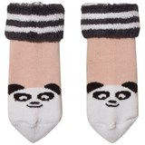 The Bonnie Mob Baby Bootie Panda Socks With Pom Pom Tail Pale Pink