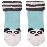 The Bonnie Mob Baby Bootie Panda Socks With Pom Pom Tail Pale Blue