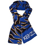 Kenzo Kids Blue Multi Animal Print and Tiger Scarf