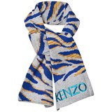 Kenzo Kids Grey Multi Animal Print and Tiger Scarf