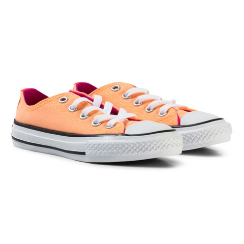 Converse Orange Chuck Taylor All Star Double Tongue Junior Trainers
