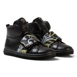 Young Versace Black and Gold Baroque Print Medusa Hi-Top Trainers