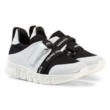 Young Versace Black and White Trainers with Logo Sole