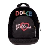 Dolce & Gabbana Black Leather and Nylon Embellished Backpack
