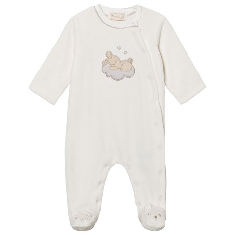 Mayoral Cream Bunny Applique Velour Babygrow with Teddy Feet