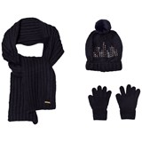 Mayoral Navy Knitted Pom Pom Hat, Scarf and Gloves Set with Diamante Detail