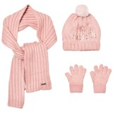 Mayoral Pink Knitted Pom Pom Hat, Scarf and Gloves Set with Diamante Detail