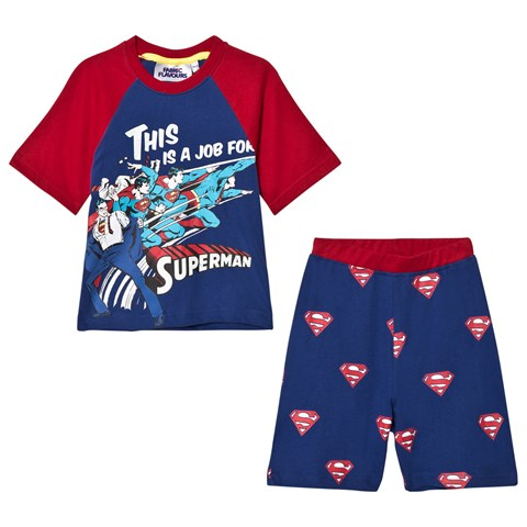 Fabric Flavours Blue and Red Superman Comic Pyjamas