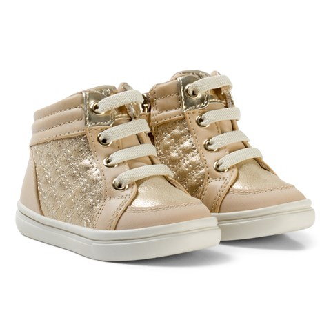 Mayoral Beige and Gold Quilted Lace Hi Tops