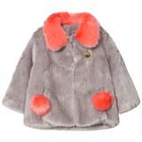 Bandits Girl Grey and Coral Faux Fur Coat with Pom Pom Pockets