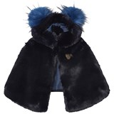 Bandits Girl Navy Faux Fur and Wool Hooded Cape with Pom Pom Hood