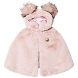 Bandits Girl Pink Faux Fur and Wool Hooded Cape with Pom Pom Hood