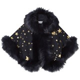 Bandits Girl Navy Star Print Faux Fur Cape