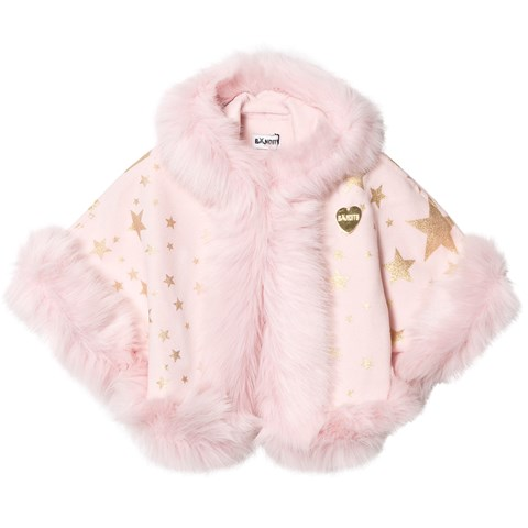 Bandits Girl Pink Star Print Faux Fur Hooded Cape