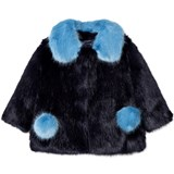 Bandits Girl Navy and Blue Faux Fur Coat with Pom Pom Pockets