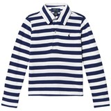 Ralph Lauren White and Navy Long Sleeve Polo