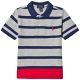 Ralph Lauren Grey and Red Stripe Short Sleeve Polo