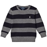 Ralph Lauren Grey and Navy Stripe Jumper with Small PP