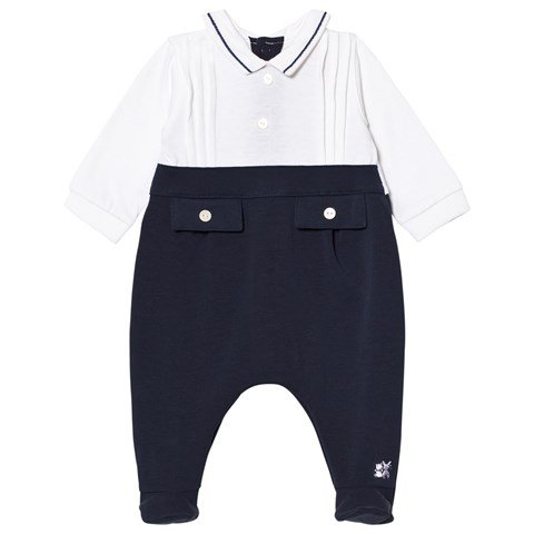 Emile et Rose Navy Mock Two-Piece Babygrow