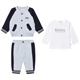 BOSS Navy and Pale Blue Waffle Jacket, Trackpants and Tee Set