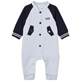 BOSS Pale Blue and Navy Waffle Footless Babygrow