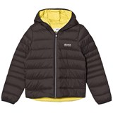 BOSS Dark Grey and Lime Lightweight Hooded Padded Coat