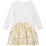 Young Versace Ivory and Gold Baroque Print Jersey Dress