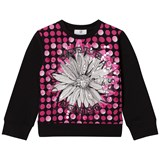Young Versace Pink and Black Flower Medusa and Sequin Sweatshirt