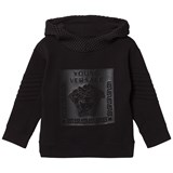 Young Versace Black Rubberised Medusa Print Hoody with Mesh Detail