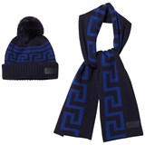 Young Versace Navy and Blue Branded Knit Hat and Scarf Set